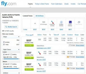 Austin-Puerto Vallarta: Fly.com Search Results