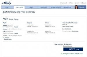 Austin-Seattle: Alaska Booking Page