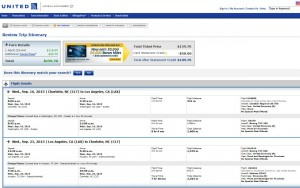 Charlotte-Los Angeles: United Booking Page