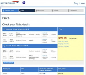 Chicago-Athens: British Airways Booking Page