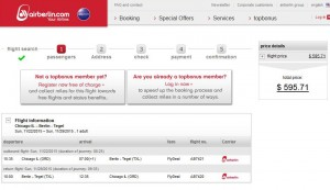 Chicago-Berlin: airberlin Booking Page