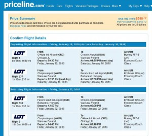 Chicago-Budapest: Priceline Booking Page