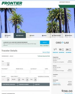 Chicago-Los Angeles: Frontier Booking Page