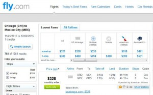 Chicago-Mexico City: Fly.com Search Results