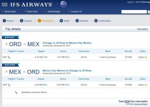 Chicago-Mexico City: US Airways Booking Page
