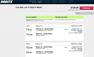 Chicago-Miami: Orbitz Booking Page