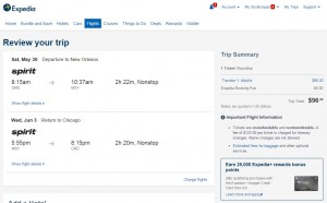 Chicago to New Orleans: Expedia Booking Page
