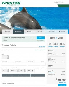 Chicago to Orlando: Frontier Booking Page