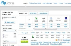 Chicago to Orlando: Fly.com Results