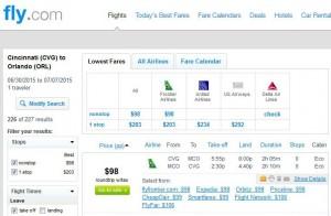 Cincinnati-Orlando: Fly.com Search Results