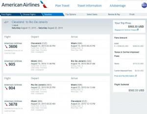Cincinnati-Rio: American Booking Page