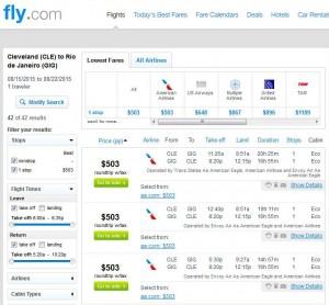 Cincinnati-Rio: Fly.com Search Results
