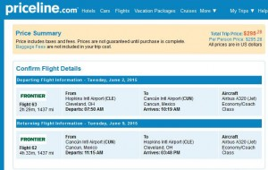 Cleveland-Cancun: Priceline Booking Page