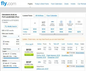 Cleveland-Fort Lauderdale: Fly.com Search Results