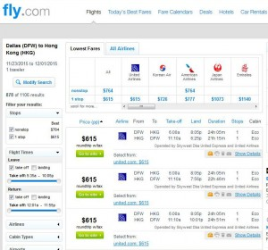 Dallas-Hong Kong: Fly.com Search Results