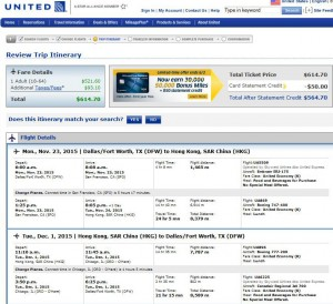 Dallas-Hong Kong: United Booking Page