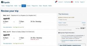 Dallas-Los Angeles: Expedia Booking Page