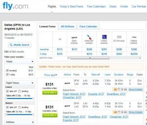 Dallas-Los Angeles: Fly.com Search Results