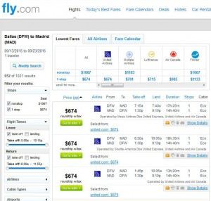 Dallas-Madrid: Fly.com Search Results