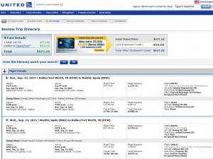 Dallas-Madrid: United Booking Page