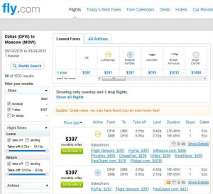 Dallas-Moscow: Fly.com Search Results