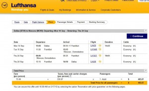 Dallas-Moscow: Lufthansa Booking Page