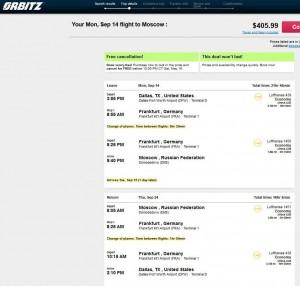 Dallas-Moscow: Orbitz Booking Page