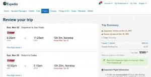 Dallas-Sao Paulo: Expedia Booking Page