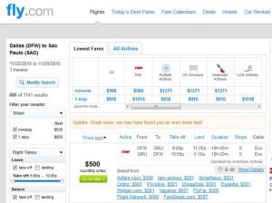 Dallas-Sao Paulo: Fly.com Search Results