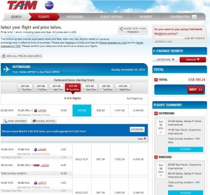 Dallas-Sao Paulo: TAM Booking Page