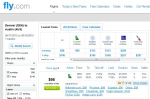 Denver to Austin: Fly.com Results