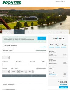 Denver to Austin: Frontier Booking Page