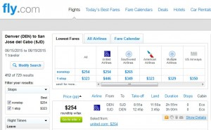 Denver to Los Cabos: Fly.com Results