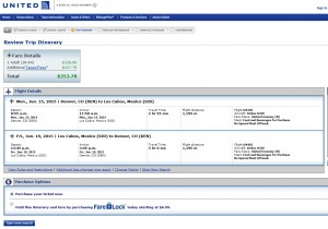 Denver to Los Cabos: United Booking Page