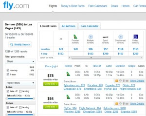 Denver to Las Vegas: Fly.com Results