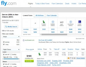 Denver to New Orleans: Fly.com Results