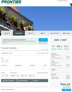 Denver to New Orleans: Frontier Booking Page