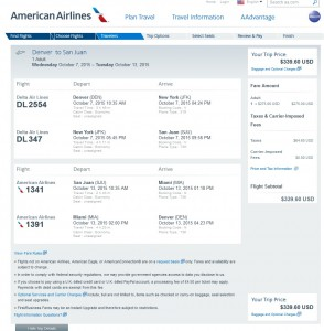 Denver to San Juan, Puerto Rico: AA Booking Page