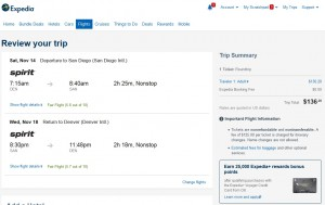 Denver to San Diego: Expedia Booking Page