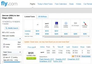 Denver to San Diego: Fly.com Results