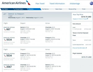 Detroit-Freeport: American Booking Page