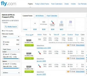 Detroit-Freeport: Fly.com Search Results