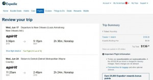 Detroit-New Orleans: Expedia Booking Page