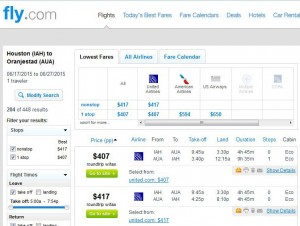 Houston-Aruba: Fly.com Search Results