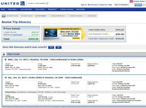 Houston-Aruba: United Booking Page