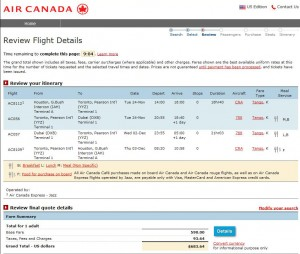 Houston-Dubai: Air Canada Booking Page