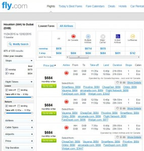 Houston-Dubai: Fly.com Search Results