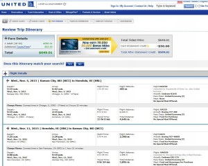 Kansas City-Honolulu: United Booking Page