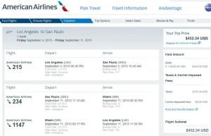 Los Angeles-Sao Paulo: American Booking Page