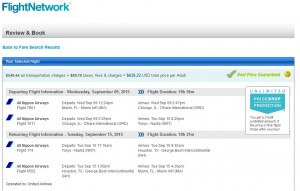 Miami to Tokyo: Flight Network Booking Page